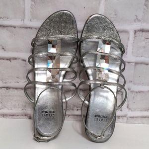Stuart Weitzman Silver Gemstone Sandals Size 8.5